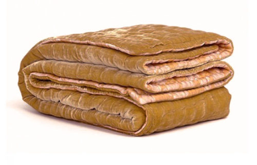 Silk Velvet Bedspread in Citrine