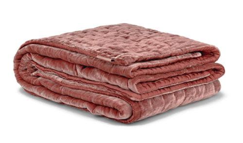 Silk Velvet Bedspread in Coral