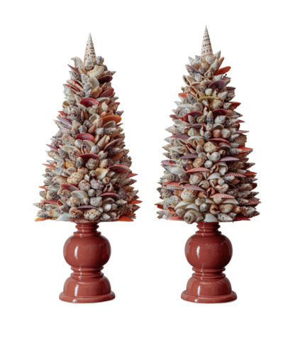 Pair of Shell Obelisks